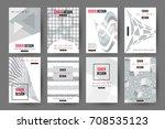 minimal cover design set of... | Shutterstock .eps vector #708535123
