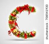 christmas font. letter c of... | Shutterstock .eps vector #708541930