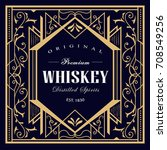 whiskey vintage label linear... | Shutterstock .eps vector #708549256