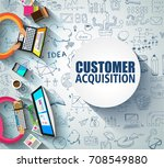 customer acquisition concept... | Shutterstock .eps vector #708549880