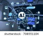 autonomous car with ai... | Shutterstock . vector #708551104