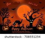 halloween night background with ... | Shutterstock .eps vector #708551254