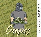 vector gorilla with grapes... | Shutterstock .eps vector #708552310
