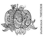 Zentangle Pumpkin In Abstract...
