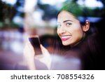 a beautiful young indian woman... | Shutterstock . vector #708554326