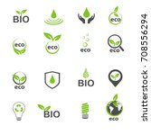 ecology and bio in green icons...
