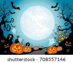 a seamless happy halloween... | Shutterstock .eps vector #708557146
