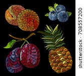 embroidery fruits collection....   Shutterstock .eps vector #708557200