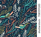 vector floral seamless pattern... | Shutterstock .eps vector #708559183