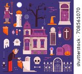 halloween elements and icons... | Shutterstock .eps vector #708561070
