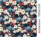 flowery bright pattern in small ... | Shutterstock . vector #708561190