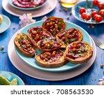 sweet potato toast with... | Shutterstock . vector #708563530