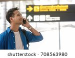asian traveler using the smart... | Shutterstock . vector #708563980