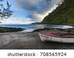 boats coast and waves at anse... | Shutterstock . vector #708565924
