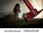 closeup red axe with blood for... | Shutterstock . vector #708569338