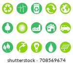 green eco button icons set | Shutterstock .eps vector #708569674