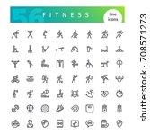 set of 56 fitness line icons...   Shutterstock .eps vector #708571273