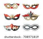 masks carnival italian... | Shutterstock .eps vector #708571819