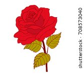red rose cartoon style on white ... | Shutterstock .eps vector #708573040