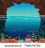 calm sea landscape. stone cave  ... | Shutterstock .eps vector #708574750