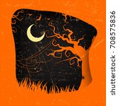 halloween party flyer with...   Shutterstock .eps vector #708575836