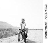 young woman biker with custom... | Shutterstock . vector #708575863