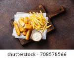 fish fingers and chips british... | Shutterstock . vector #708578566