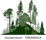 illustration with fir trees... | Shutterstock .eps vector #708584014