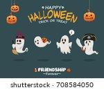 vintage halloween poster design ... | Shutterstock .eps vector #708584050
