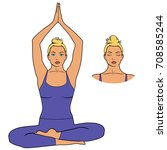 woman meditating  in yoga pose. ... | Shutterstock .eps vector #708585244