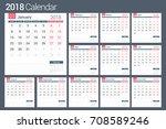 2018 calendar template  planner ... | Shutterstock .eps vector #708589246
