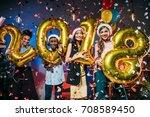 happy young multiethnic friends ... | Shutterstock . vector #708589450