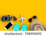 top view of traveler's... | Shutterstock . vector #708590050