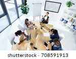 multicultural business people... | Shutterstock . vector #708591913