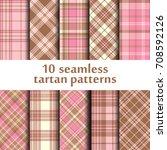 Set Of 10 Seamless Tartan...