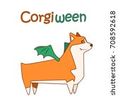 happy welsh corgi breed dog ... | Shutterstock .eps vector #708592618