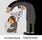 a terrible evil man offends... | Shutterstock .eps vector #708594400