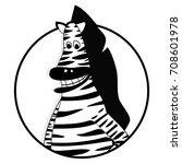 zebra icon flat. horse zebra...