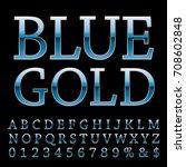 vector set of shiny blue golden ...   Shutterstock .eps vector #708602848