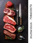 variety of raw black angus... | Shutterstock . vector #708603070