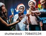 happy young multiethnic friends ... | Shutterstock . vector #708605134