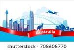 australia skyline and landmark... | Shutterstock .eps vector #708608770