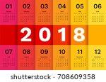 2018 calendar template. simple... | Shutterstock .eps vector #708609358