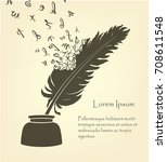 writing old feather with flying ... | Shutterstock .eps vector #708611548