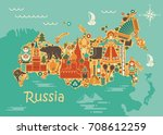 a stylized map of russia with... | Shutterstock .eps vector #708612259