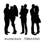 silhouette people standing | Shutterstock .eps vector #708614563