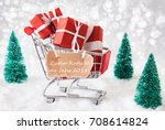 trolly with christmas gifts ...   Shutterstock . vector #708614824
