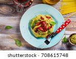 homemade pasta spaghetti with... | Shutterstock . vector #708615748