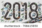 top view road with 2018 figures ... | Shutterstock .eps vector #708615850