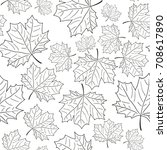 hand drawn maple leaf seamless... | Shutterstock .eps vector #708617890